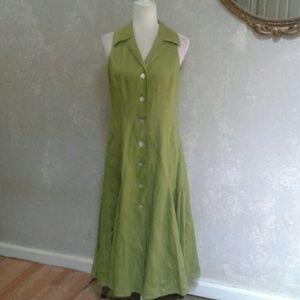 Gorgeous ! Talbots women's Green Linen  Dress 6